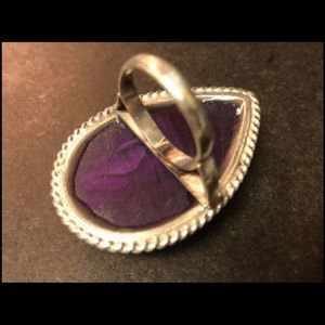 unknown Jewelry - Very large sterling silver, purple agate ring.